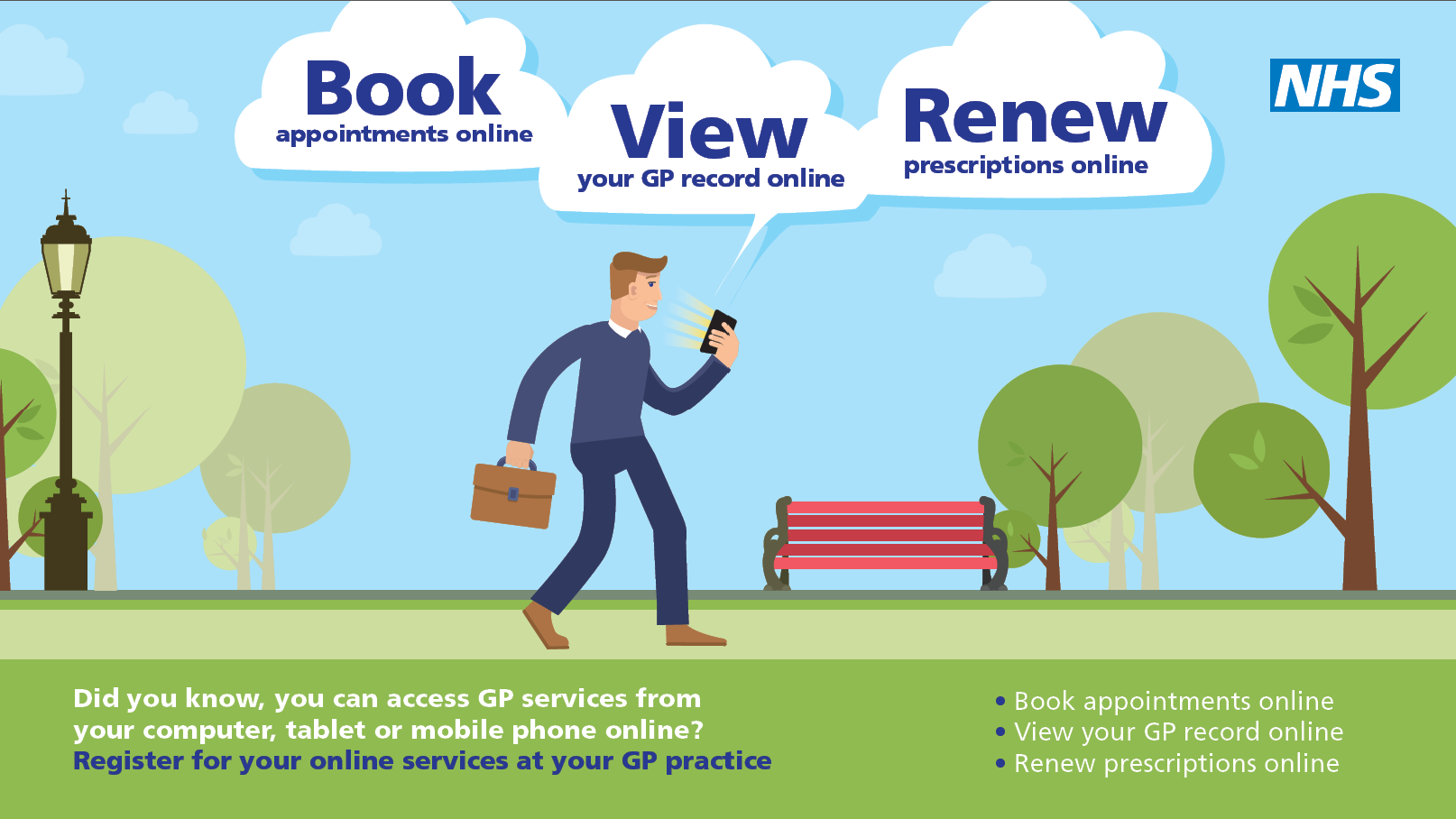 Book appointments, view your GP record and renew prescriptions online